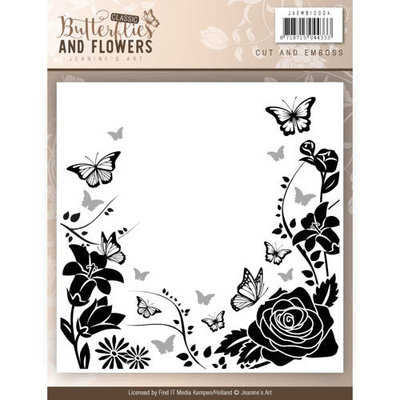 JAEMB10004 –  Cut and Emboss folder - Jeanines Art - Classic Butterflies and Flowers Jeanines Art