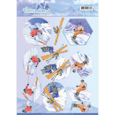 CD11031 - 3D Knipvel - Jeanine's Art - Wintersports - Snowfun