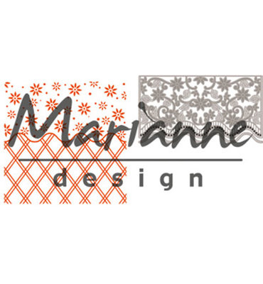 DF3444 - Marianne Design - Design Folder - Anja's Flower Border  - Folder + Die - 141x141mm