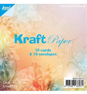 8001/0014 - Joy Crafts - Kraft papier - 10 cards en 10 envelopes - C16x16 E17x17