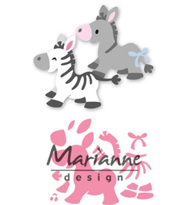 COL1447 - Marianne Design - Collectables - Elines Zebra and Donkey - 101x74mm