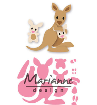 COL1446 - Marianne Design - Collectables - Elines Kangaroo and Baby - 85x79mm