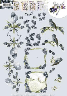 CD10939 - 3D Knipvel - Precious Marieke - Blue Grapes