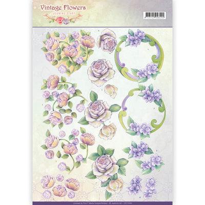 CD11044 - 3D Knipvel - Jeanine's Art - Vintage Flowers - Romantic Purple