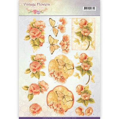 CD11047 - 3D Knipvel - Jeanine's Art - Vintage Flowers - Sweetheart Vintage