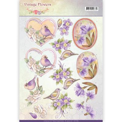 CD11048 - 3D Knipvel - Jeanine's Art - Vintage Flowers - Pale Violet