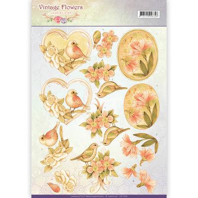 CD11049 - 3D Knipvel - Jeanine's Art - Vintage Flowers - Pale Vintage
