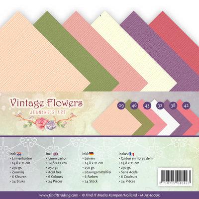 JA-A5-10005 Linnenpakket - A5 - Jeanine's Art - Vintage Flowers