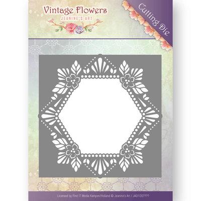 JAD10031 - Dies - Jeanine's Art - Vintage Flowers - Floral Hexagon met gratis designpapier!