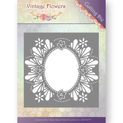 JAD10032 - Dies - Jeanine's Art - Vintage Flowers - Floral Oval - 13x13cm