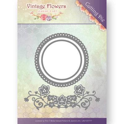 JAD10034 - Dies - Jeanine's Art - Vintage Flowers - Flowers and Circles -  4 x 11,9 cm en 8,5 x 8,5 cm.