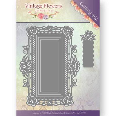 JAD10035 - Dies - Jeanine's Art - Vintage Flowers - Floral Rectangle - 12,3 x 9,2 cm.