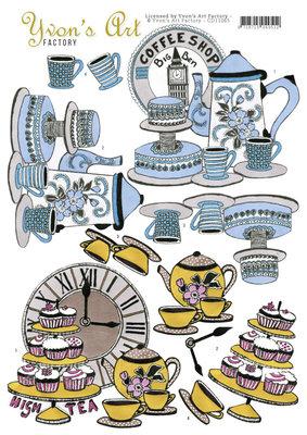 CD11065 - 3D Knipvel - Yvon's Art Factory - High Tea