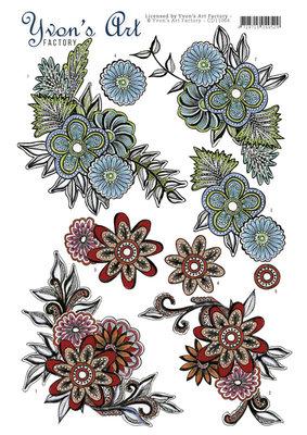 CD11066 - 3D Knipvel - Yvon's Art Factory - Graceful flowers