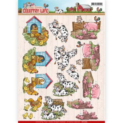 CD11060 - 3D Knipvel - Yvonne Creations - Country Life - Farm Animals
