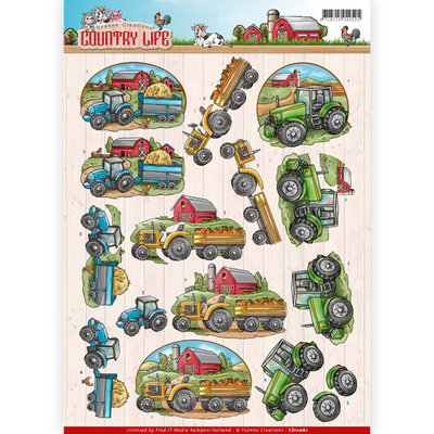 CD11061 - 3D Knipvel - Yvonne Creations - Country Life - Tractors