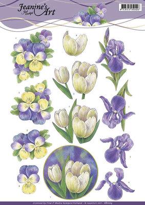 CD11113 - 3D Knipvel - Jeanine's Art - Purple Spring flowers