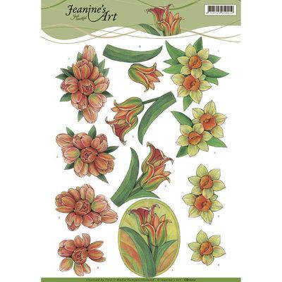 CD11112 - 3D knipvel - Jeanine's Art - Yellow Spring Flowers
