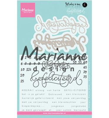 KJ1721 - Marianne Design - Clear Stamp - Karin Joan - Gefeliciteerd