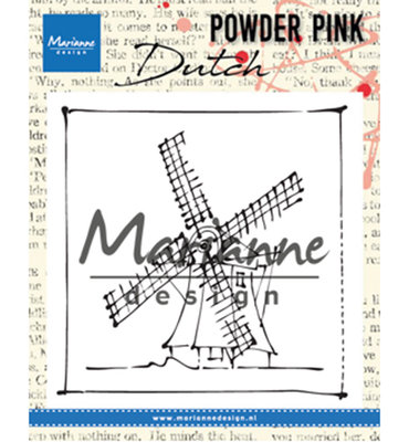 PP2802 - Marianne Design - Clear Stamp - Powder Pink – Windmill - 83x84mm