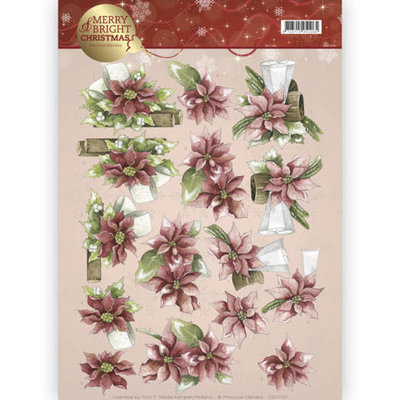 CD11121 - 3D knipvel - Precious Marieke - Merry and Bright - Poinsettia in red