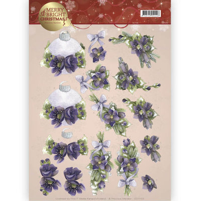 CD11123 - 3D knipvel - Precious Marieke - Merry and Bright -Bouquets in purple