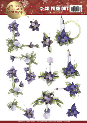 SB10266 - 3D Push Out - Precious Marieke - Merry and Bright Christmas - Amaryllis in Purple