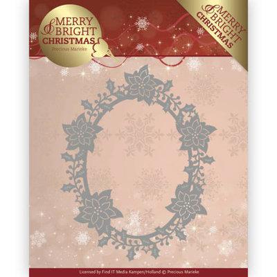 PM10126 Dies - Precious Marieke - Merry and Bright Christmas - Poinsettia Oval - Gratis topper