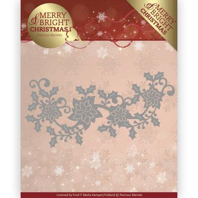 PM10129 - Dies - Precious Marieke - Merry and Bright Christmas - Poinsettia Border