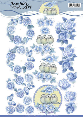 CD11042 - 3D knipvel - Jeanine's Art - Blue Roses