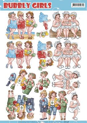 CD11158 - 3D knipvel - Yvonne Creations - Bubbly Girls - Having Fun