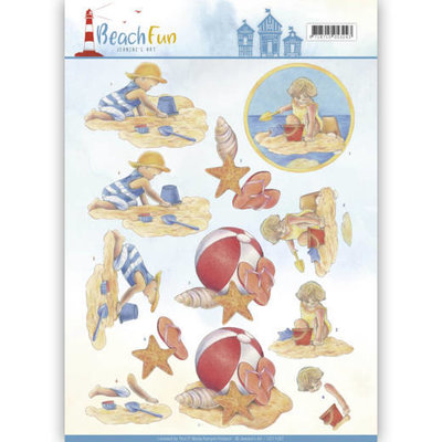 CD11067 - 3D knipvel - Jeanine's Art - Beach Fun - Playing in the Sun
