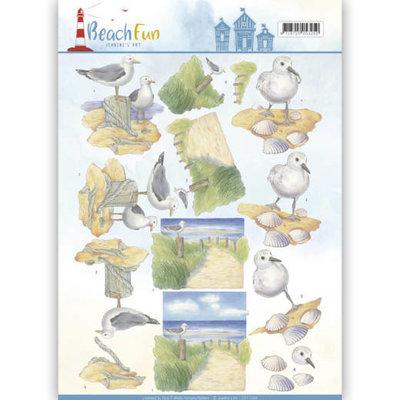 CD11068 - 3D knipvel - Jeanine's Art - Beach Fun - Seagulls