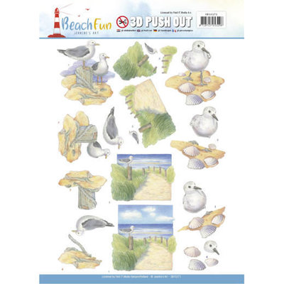 SB10271 - 3D Push Out - Jeanine's Art - Beach Fun - Seagulls