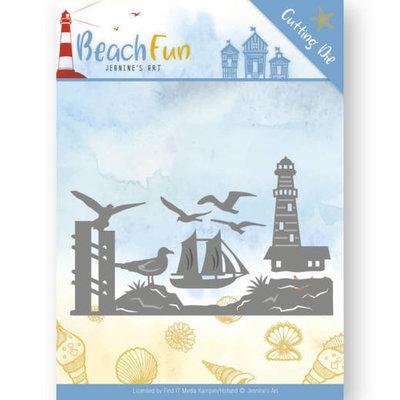 JAD10039 - Dies - Jeanine's Art - Beach Fun - Lighthouse Border