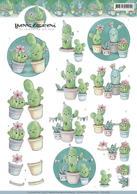 CD11087 - 3D knipvel - Yvonne Creations - Happy Cactus