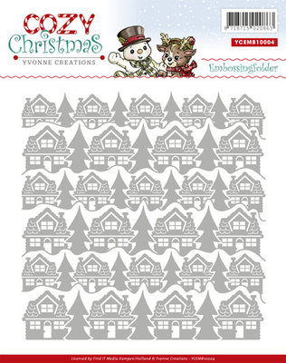 YCEMB10004 - Embossing Folder - Yvonne Creations - Cozy Christmas