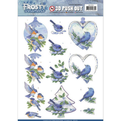 SB10281 - 3D Push Out - Jeanine's Art - Frosty Ornaments - Blue Birds