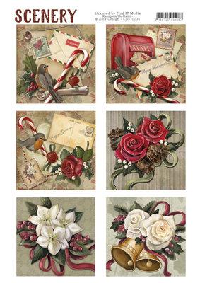 CDS10004 - Die Cut Topper - Scenery - Christmas roses