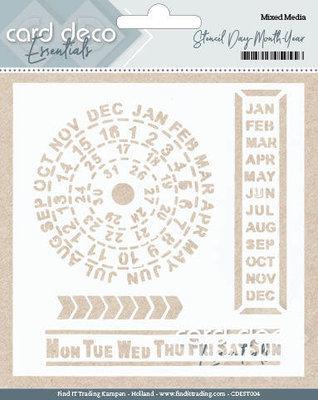 CDEST004 - Card Deco Essentials - Stencil Day - Month - Year -13x13cm