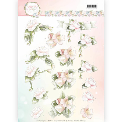 CD11142 - 3D Knipvel - Precious Marieke - Flowers in Pastels - Believe in Pink