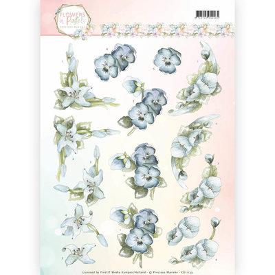 CD11139 - 3D Knipvel - Precious Marieke - Flowers in Pastels - True Blue