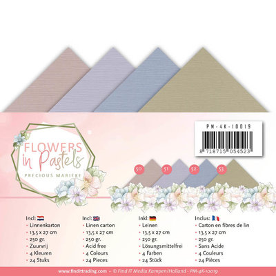 PM-4K-10019 Linnenpakket - 4K - Precious Marieke - Flowers in Pastels