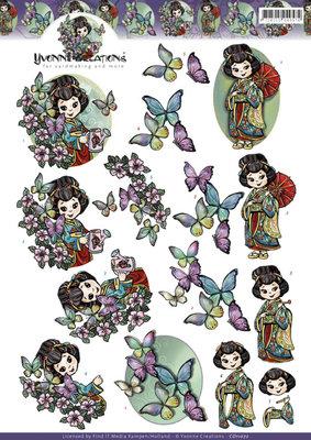 CD11072 - 3D knipvel - Yvonne Creations - Geisha's