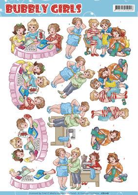 CD11161 - 3D knipvel - Yvonne Creations - Bubbly Girls - crafting Girls