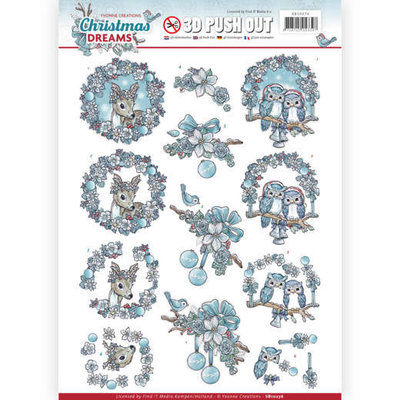 SB10276 - 3D Pushout - Yvonne Creations - Christmas Dreams - Christmas Animals