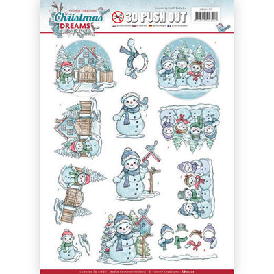 SB10277 - 3D Pushout - Yvonne Creations - Christmas Dreams - Snowman
