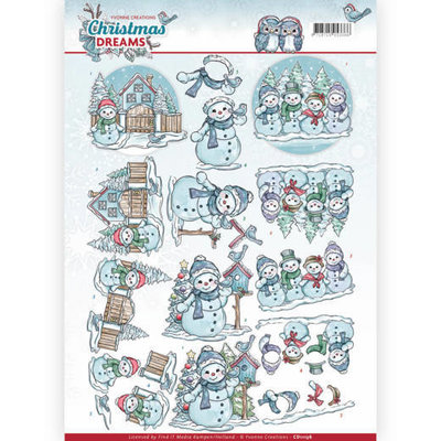 CD11136 - 3D Knipvel - Yvonne Creations - Christmas Dreams - Snowman