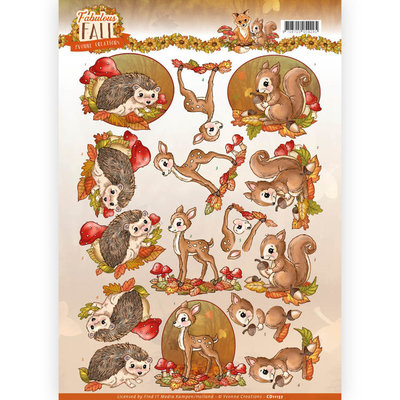 CD11157 - 3D Knipvel - Yvonne Creations - Fabulous Fall - Fabulous Animals