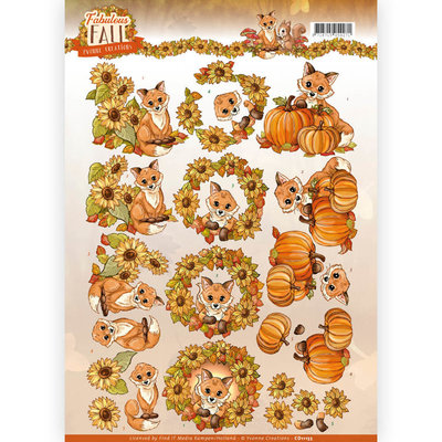 CD11155 - 3D Knipvel - Yvonne Creations - Fabulous Fall - Fabulous Foxes